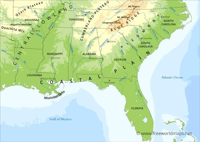 Southeastern US Physical Map