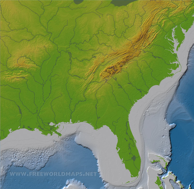physical map of the southeast united states  Show Me A Map Of The