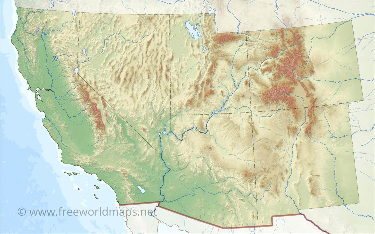 Southwestern US Physical Map - Hd us map