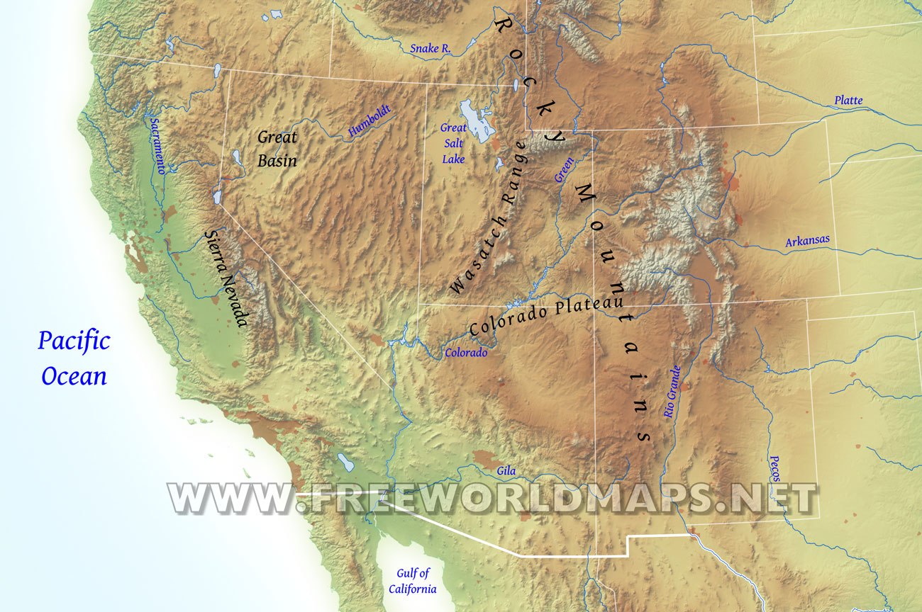 Southwestern US Physical Map - Us map with nountains