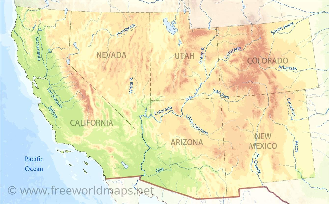 Southwestern US Physical Map - Southwest us map