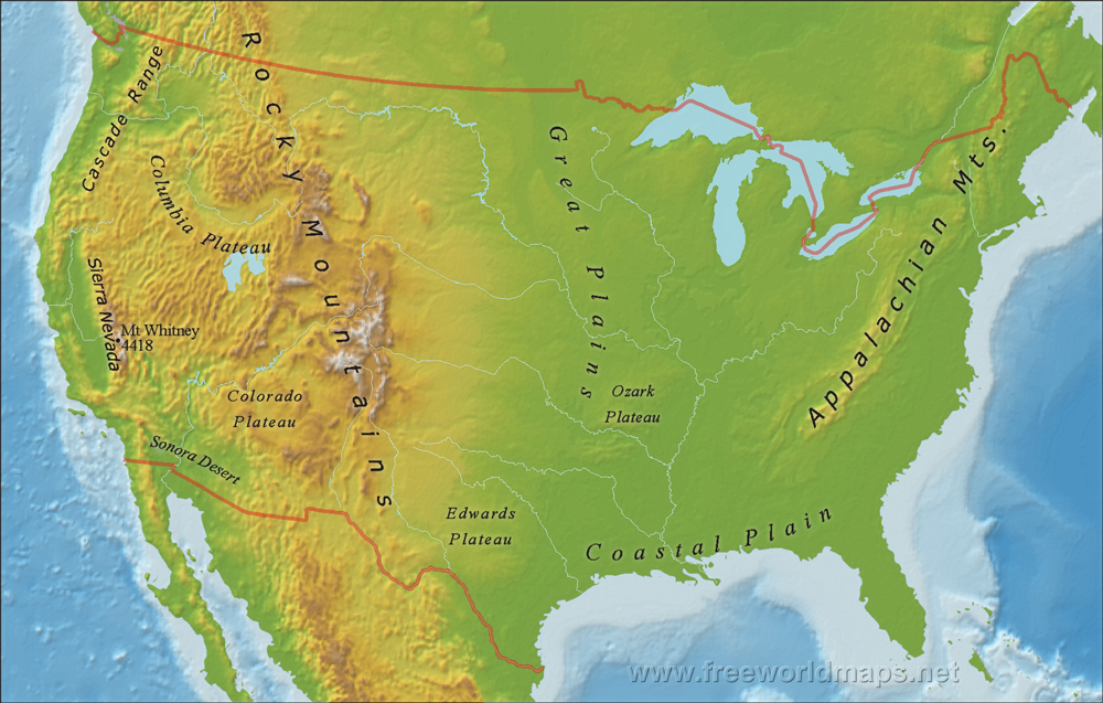 US Mountain Ranges Map - Map of mountains in us