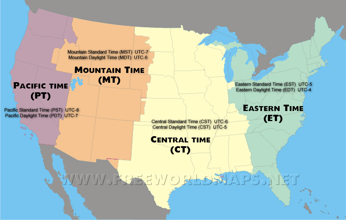US Time Zones Map - Time zones in the us map