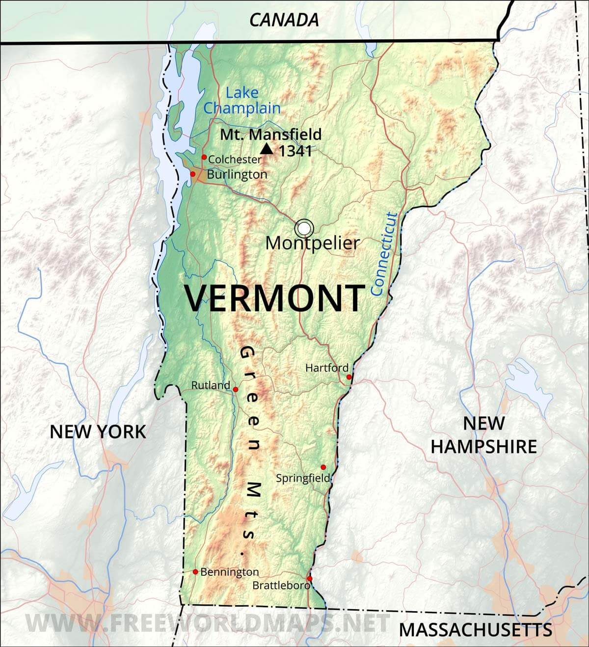 Physical Map Of Vermont - Massachusetts physical map