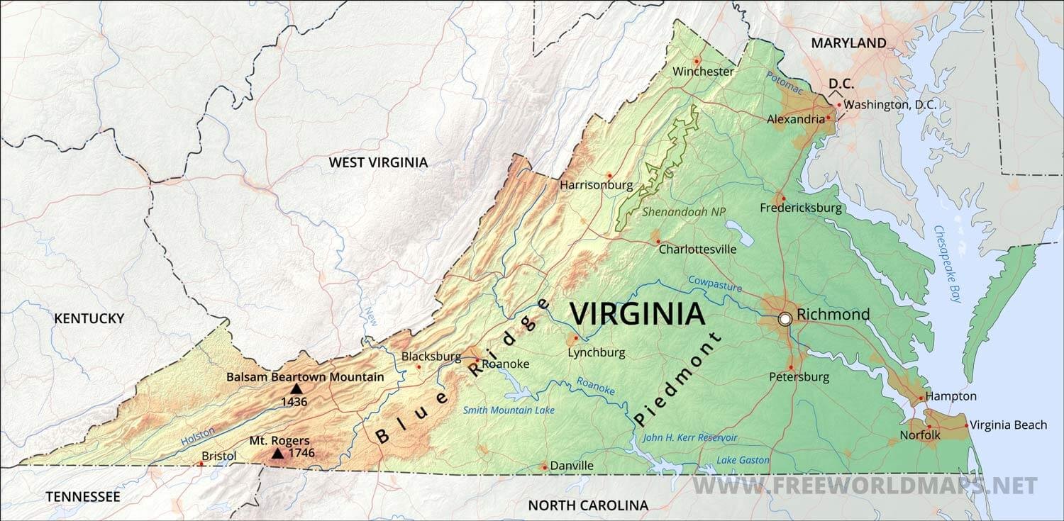 Physical Map Of Virginia - Virginia physical map