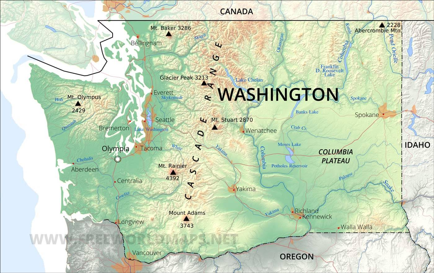 Physical Map Of Washington - Washington on the us map