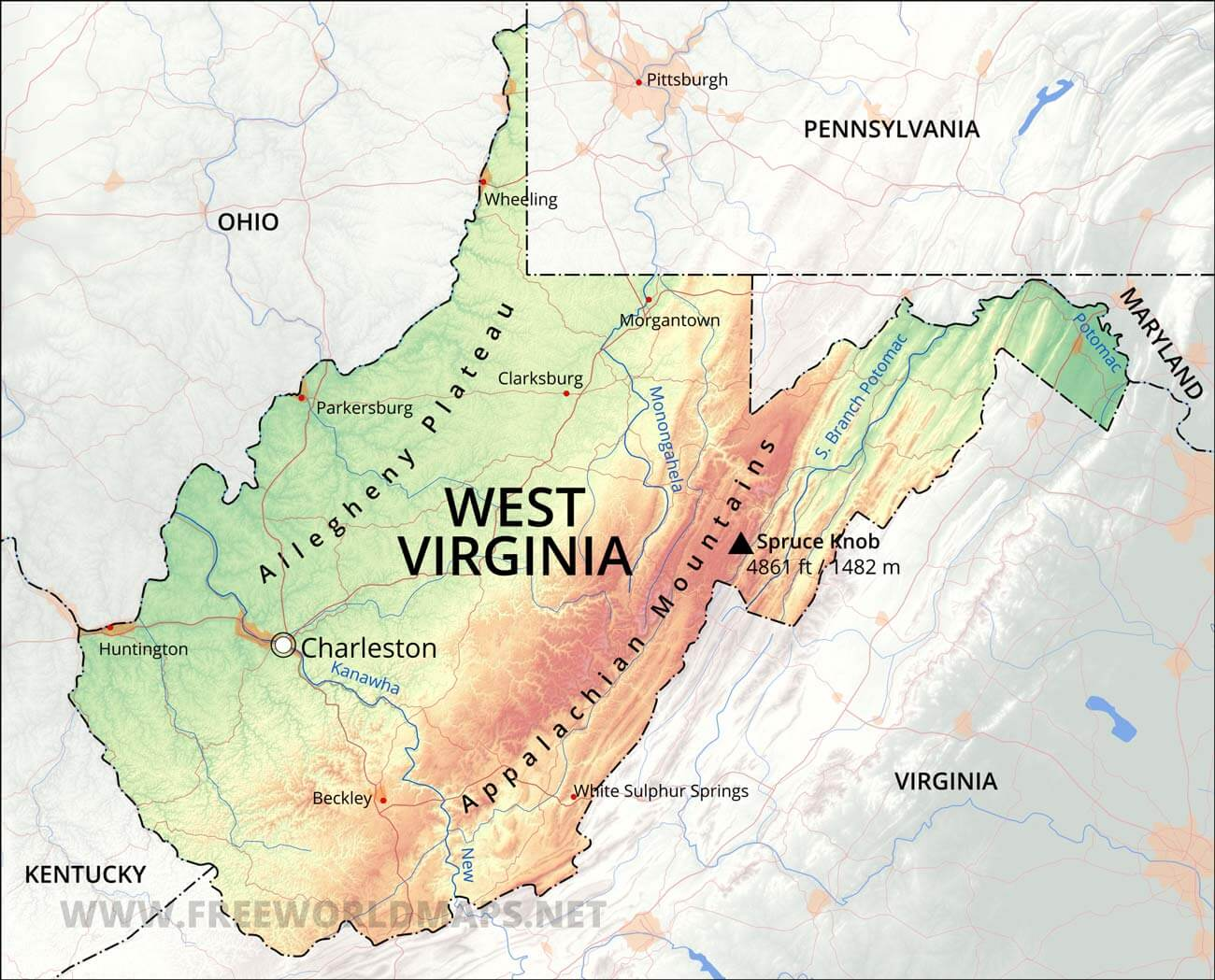 Physical Map Of West Virginia - Virginia physical map