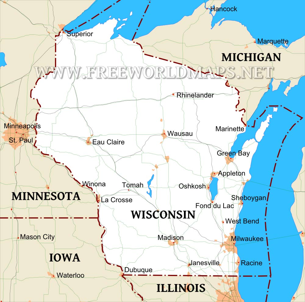 Where is Wisconsin located on the map