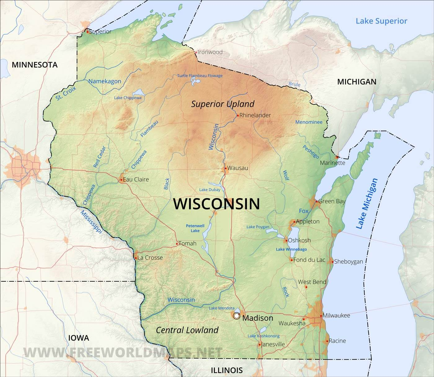 Physical Map Of Wisconsin - Physical maps of united states