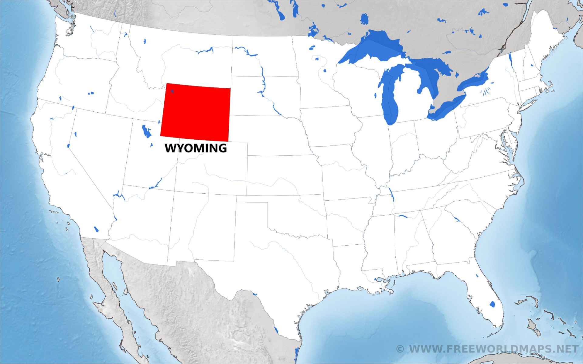 Where is Wyoming located on the map?