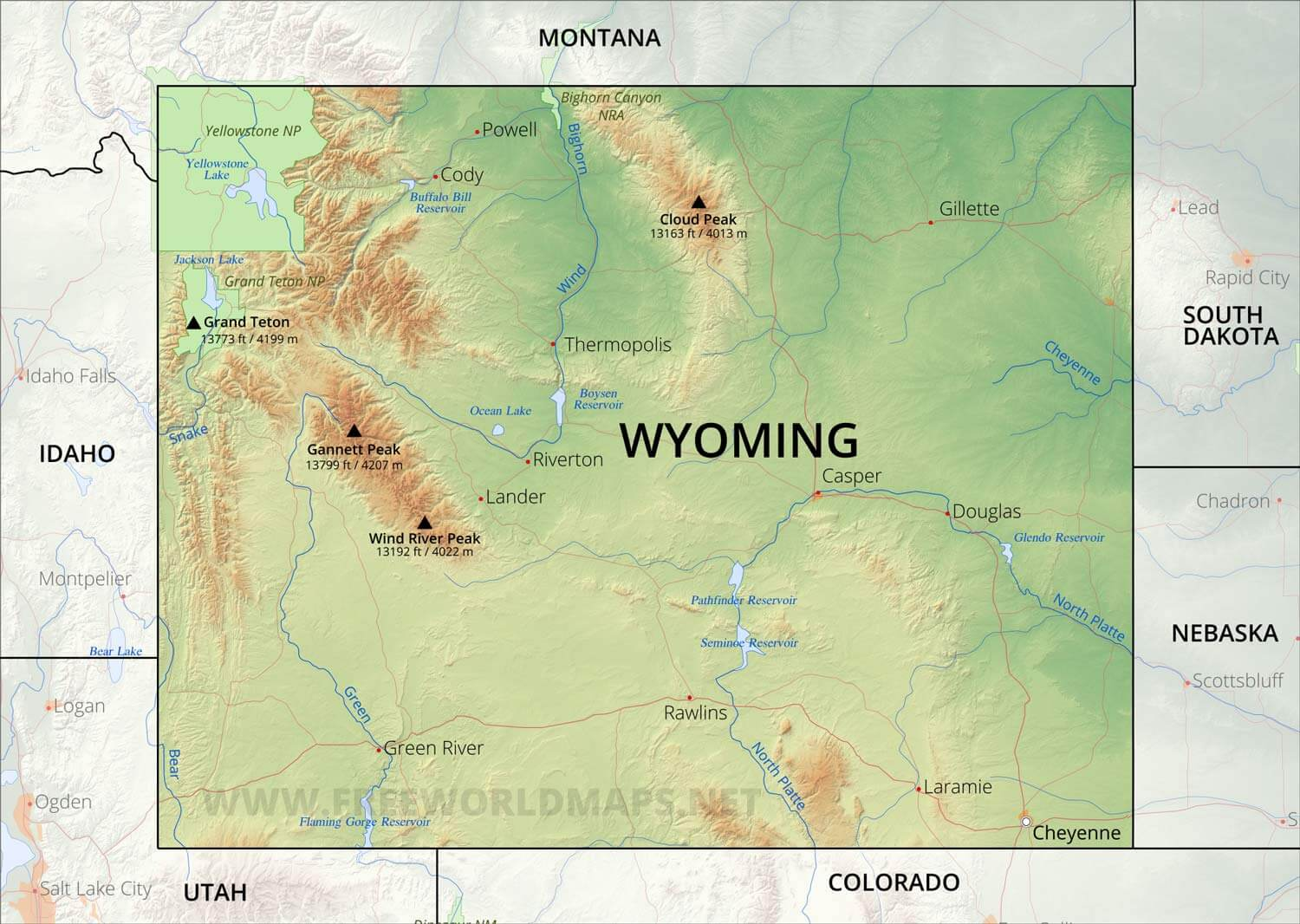 Wind River Range Wyoming Map.Physical Map Of Wyoming