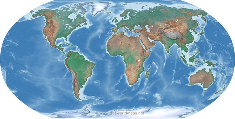 Free World Maps Atlas Of The World - Map of the globe with countries