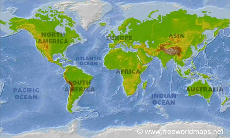Physical World Maps, physical features of the world