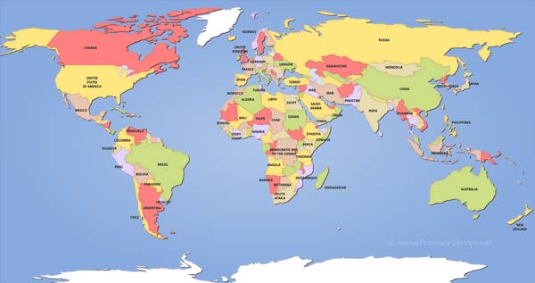 Political world map hd