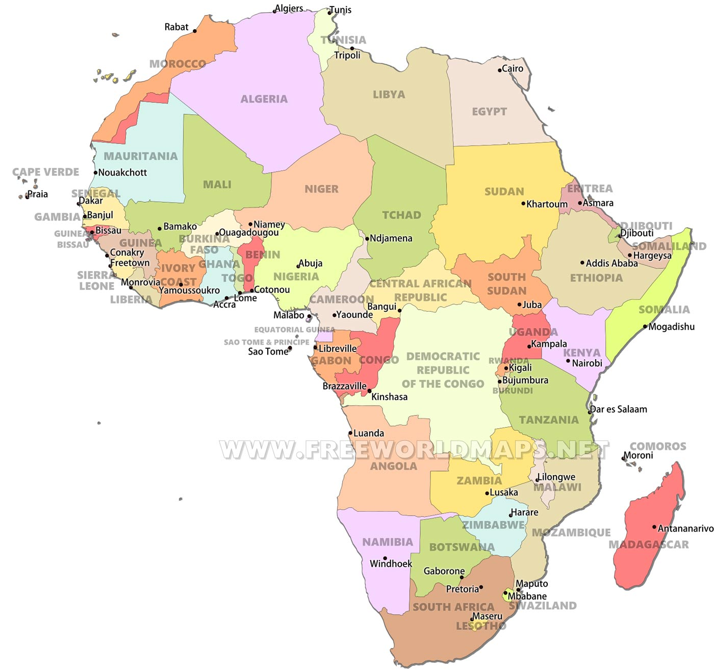 Map Of Africa Political.Africa Countries