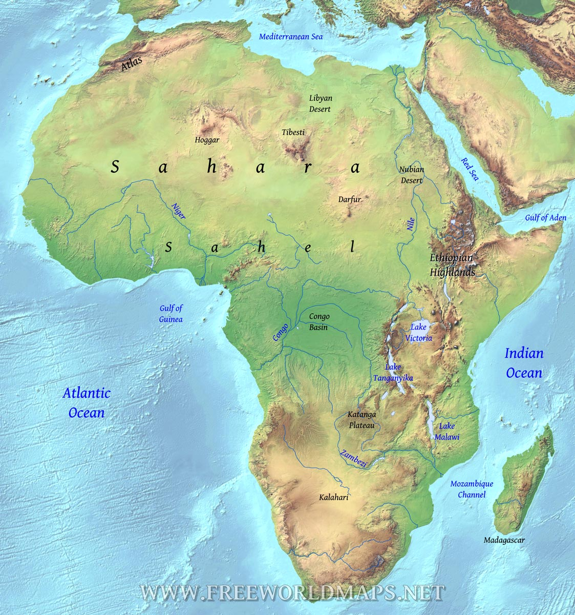Physical Map Of Africa With Rivers And Mountains And Deserts Geographical Map of Africa