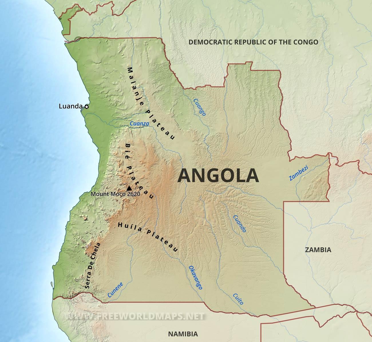Map Of Angola Angola Physical Map