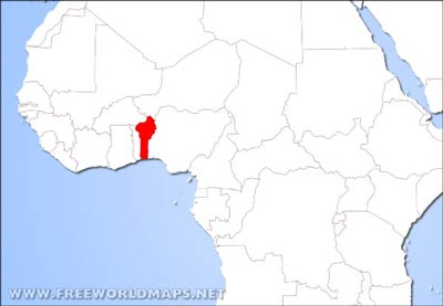 Benin Map In Africa.Benin Physical Map