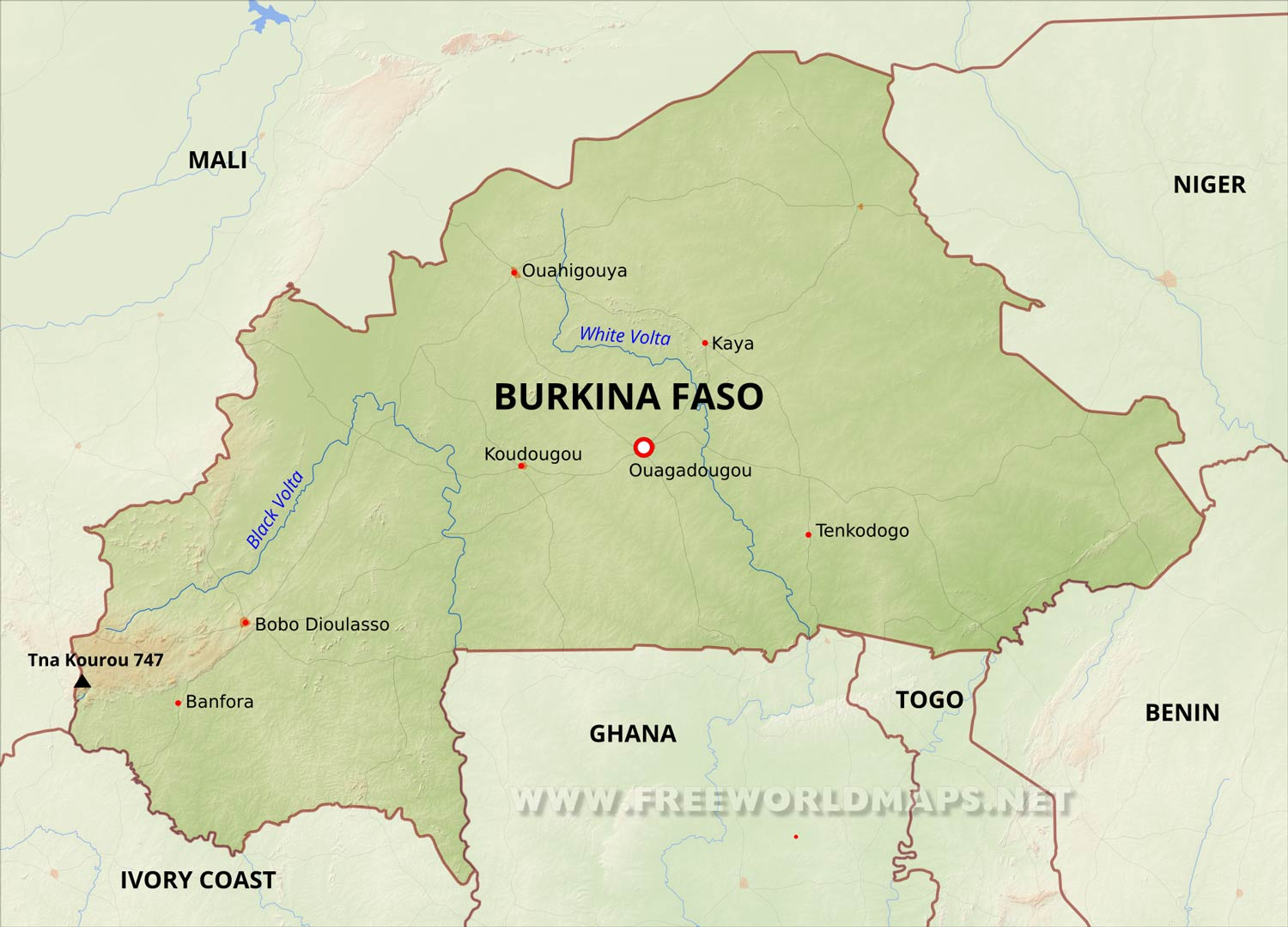 burkina faso on map Burkina Faso Physical Map burkina faso on map