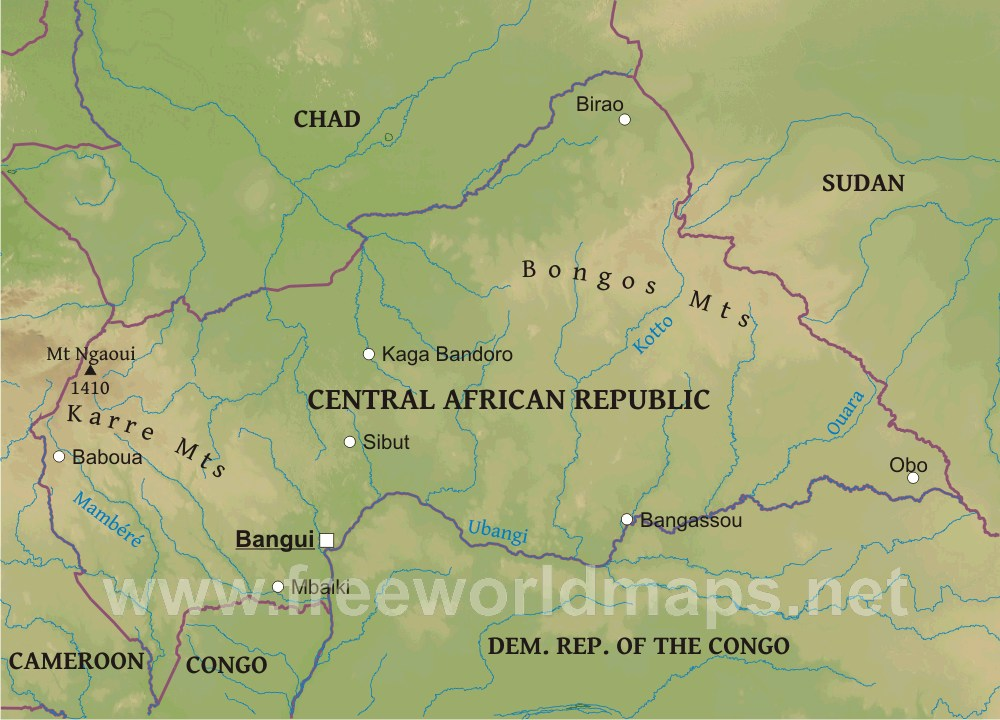Central Africa Physical Map on