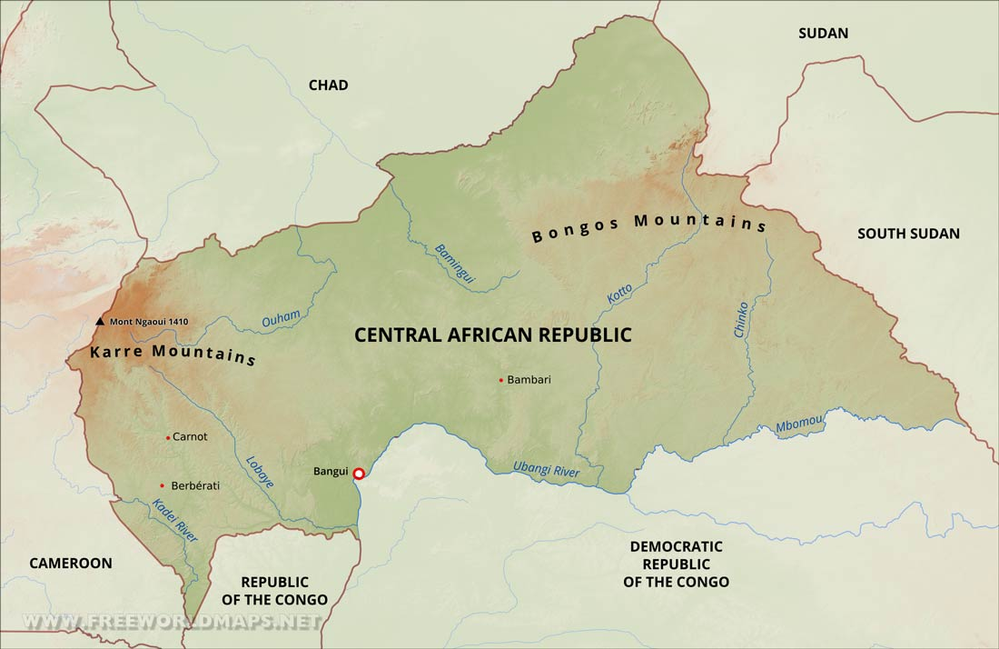 Central Africa Physical Map Central Africa Physical Map
