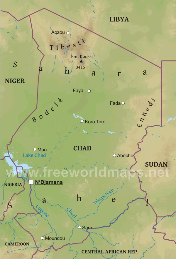 Chad Physical Map