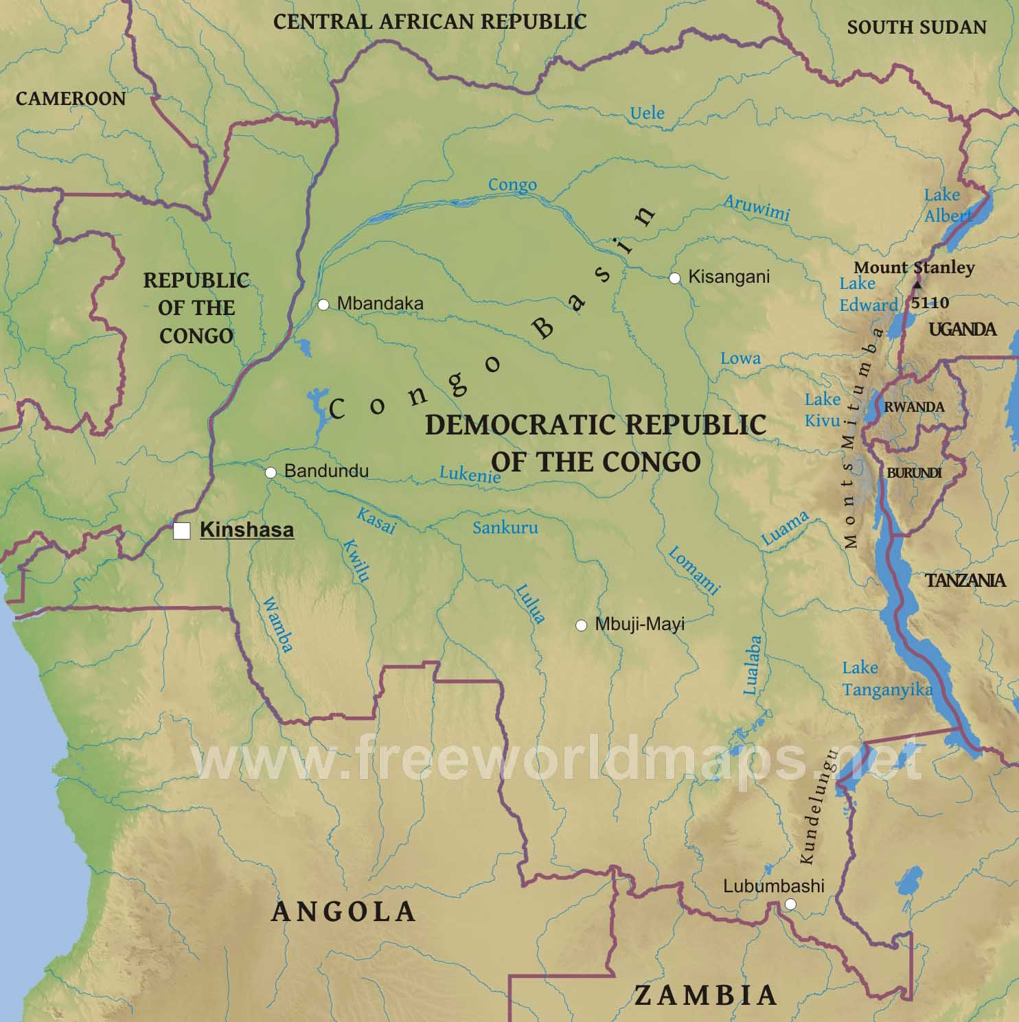 Congo Democratic Republic Physical Map