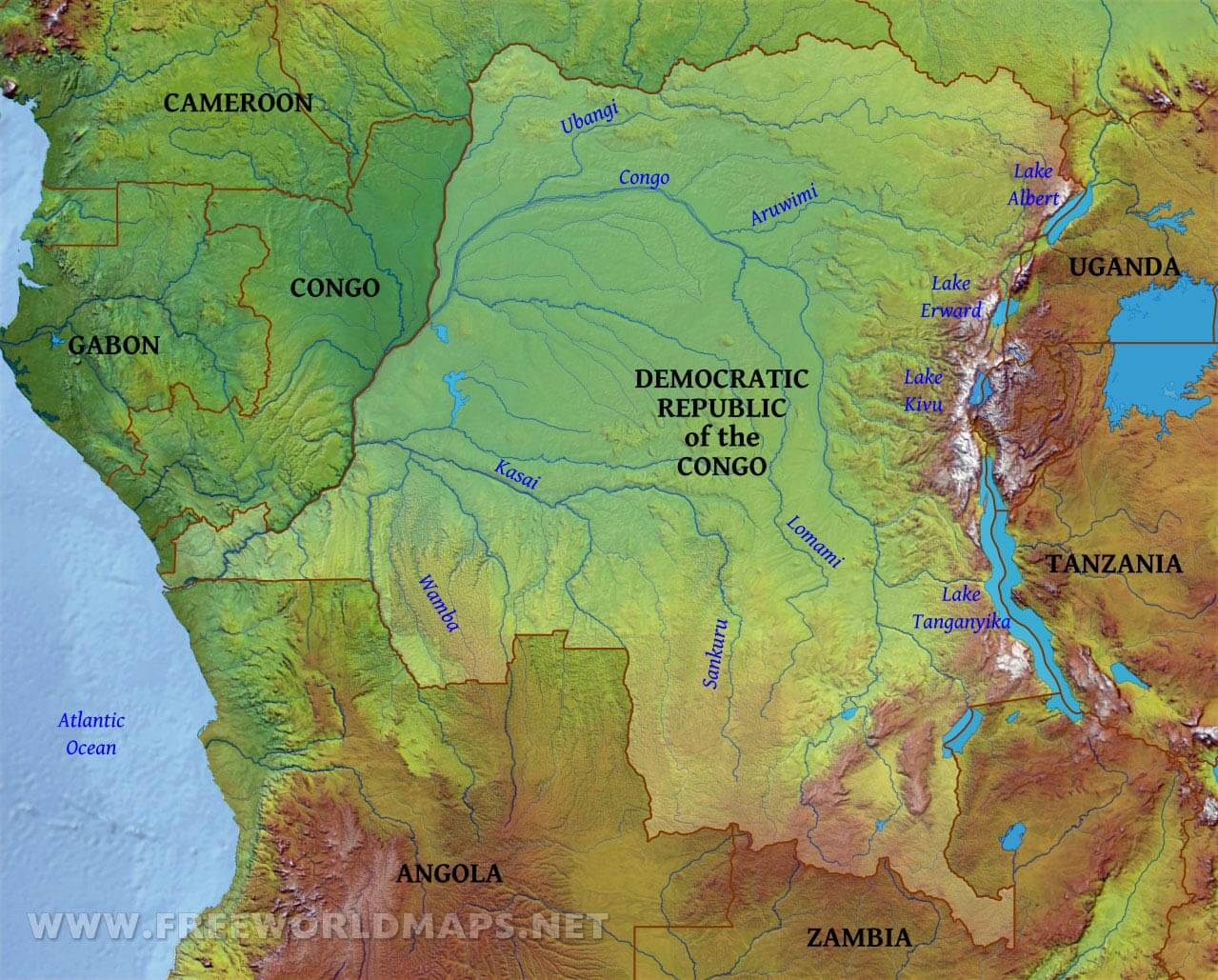 Picture of: Congo Democratic Republic Physical Map