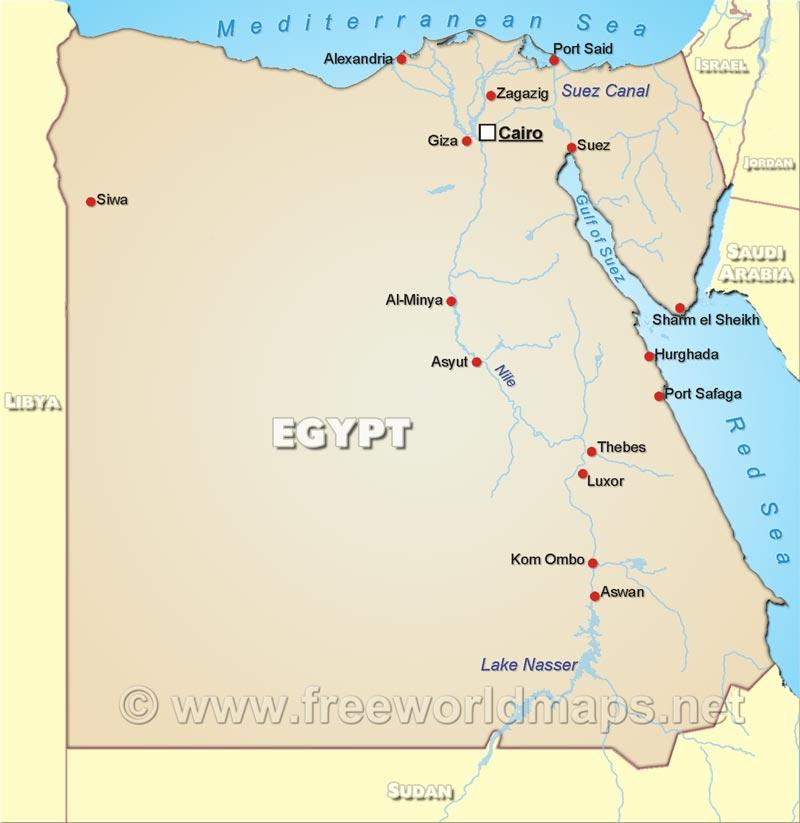 Egypt Political Map on