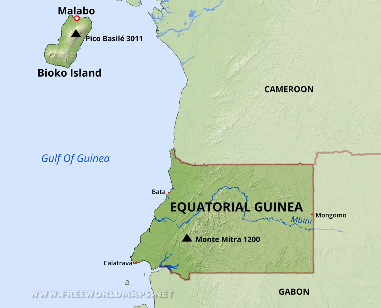 Equatorial Guinea Map Equatorial Guinea Physical Map