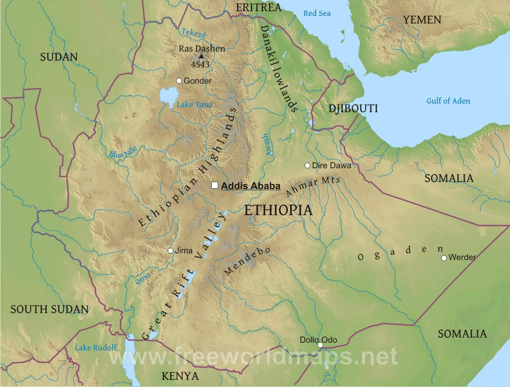 Ethiopia Geographical Map Ethiopia Physical Map