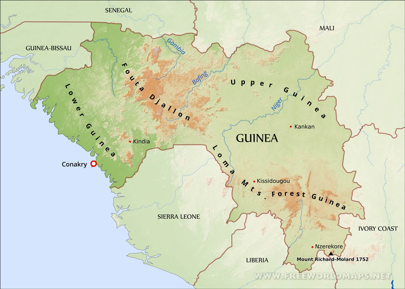 Guinea physical map guinea map publicscrutiny Image collections