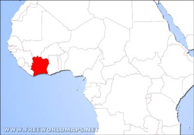 where is ivory coast on the map of africa Ivory Coast Physical Map where is ivory coast on the map of africa