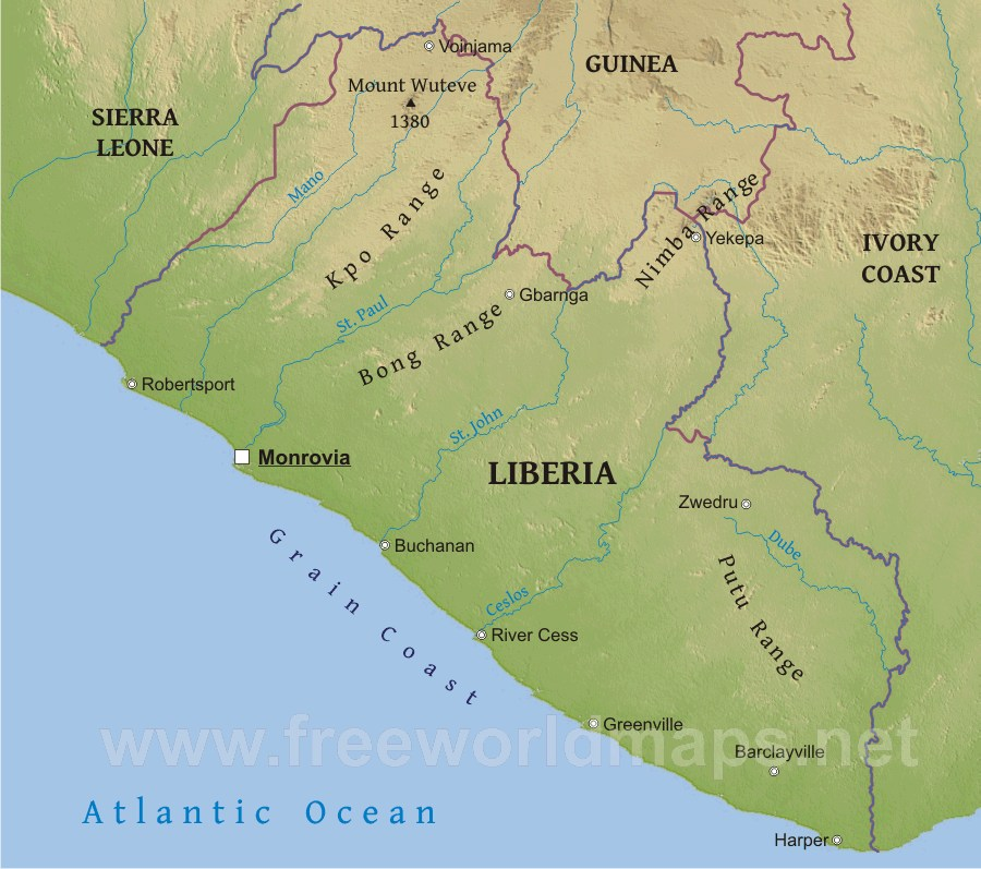 Liberia Physical Map