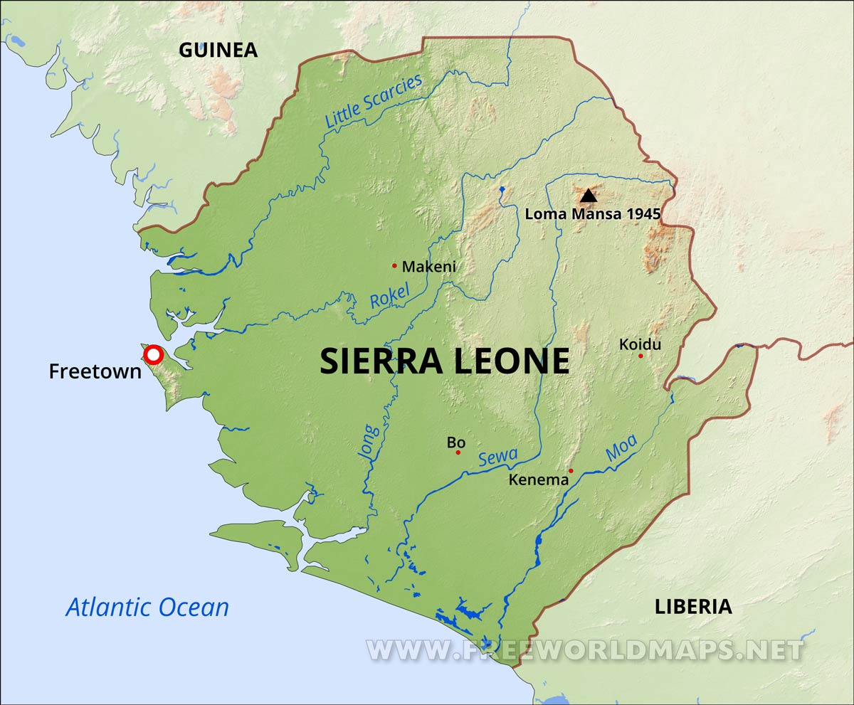 Map Of Sierra Leone Sierra Leone Physical Map