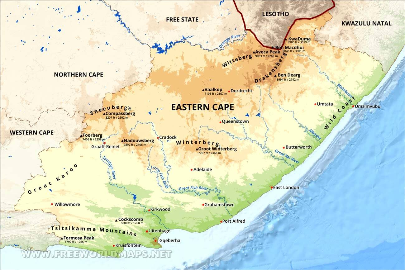 Map Eastern Cape South Africa.Eastern Cape Map South Africa