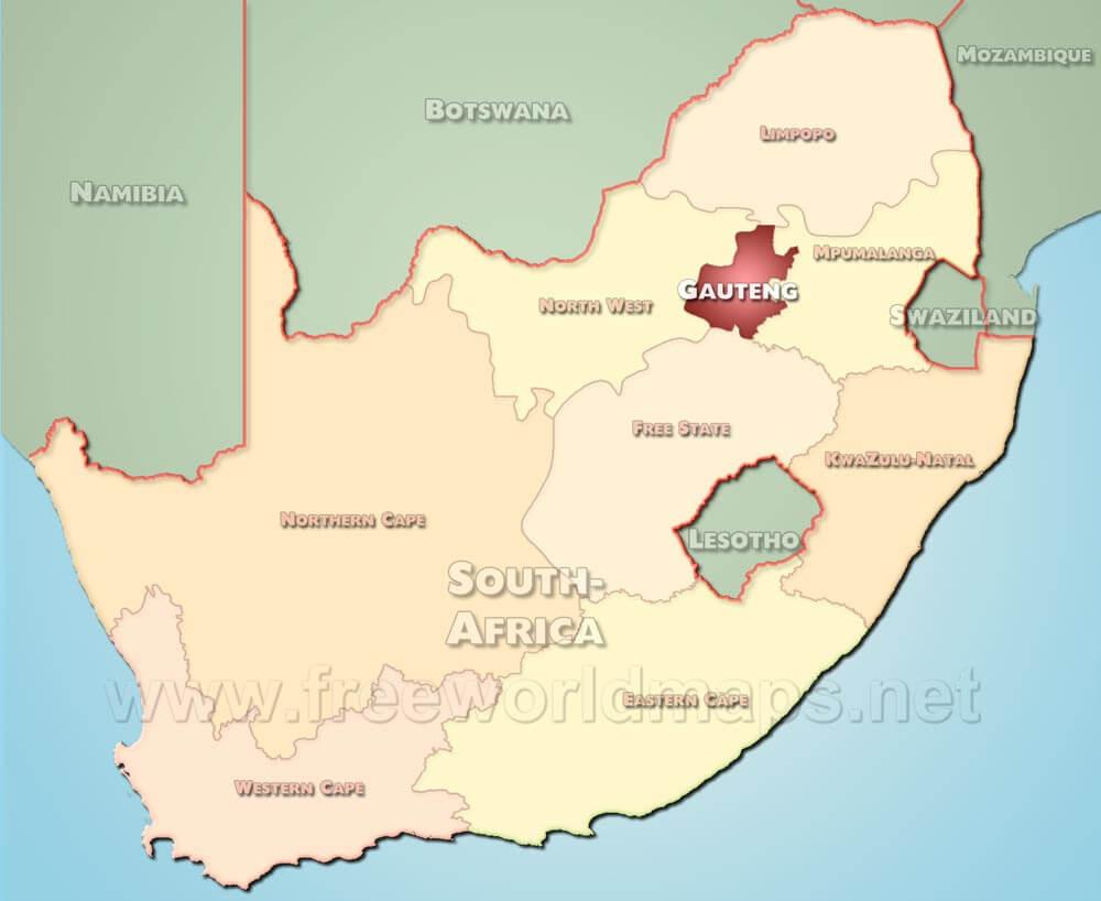 Gauteng map   South Africa