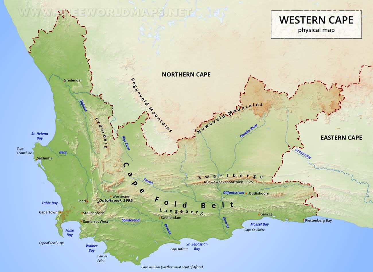 commander en ligne belle qualité Prix 50% Western Cape map - South Africa