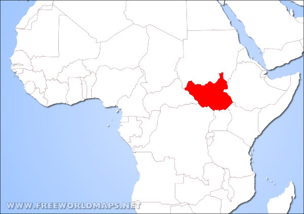 Where is South Sudan located on the World map?