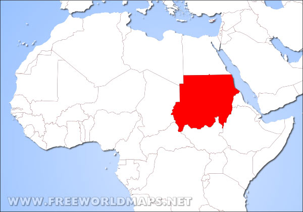 Where is Sudan located on the World map?
