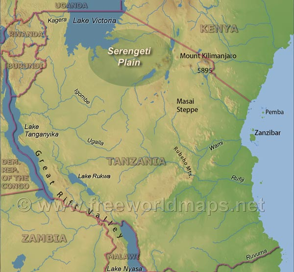 where is the serengeti plain on a map of africa Serengeti Map Tanzania where is the serengeti plain on a map of africa