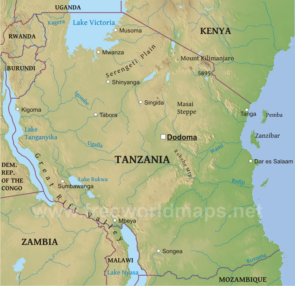 Tanzania physical map gumiabroncs Image collections
