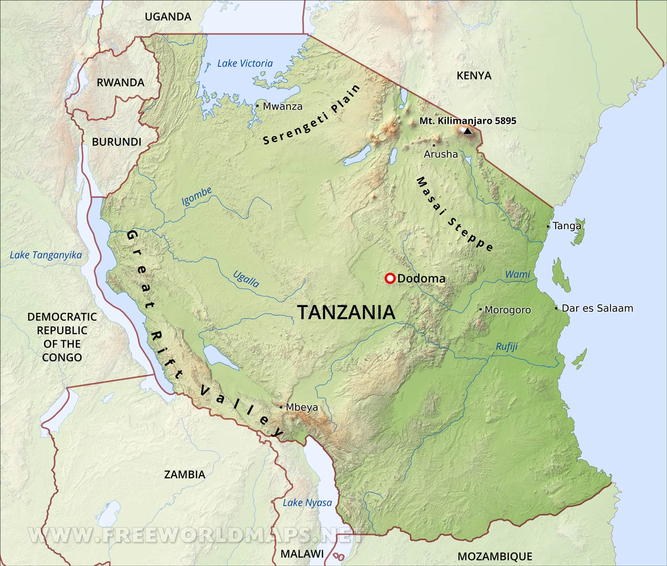 Map Of Tanzania Tanzania Physical Map Map Of Tanzania