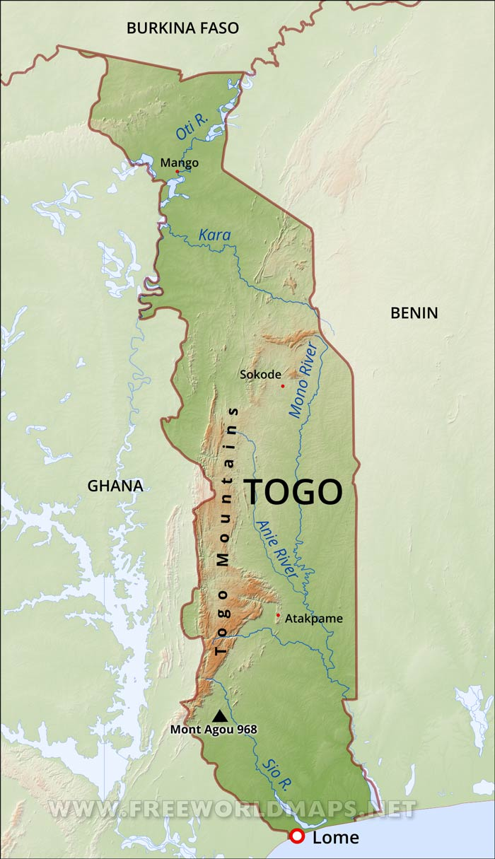 Togo Physical Map on