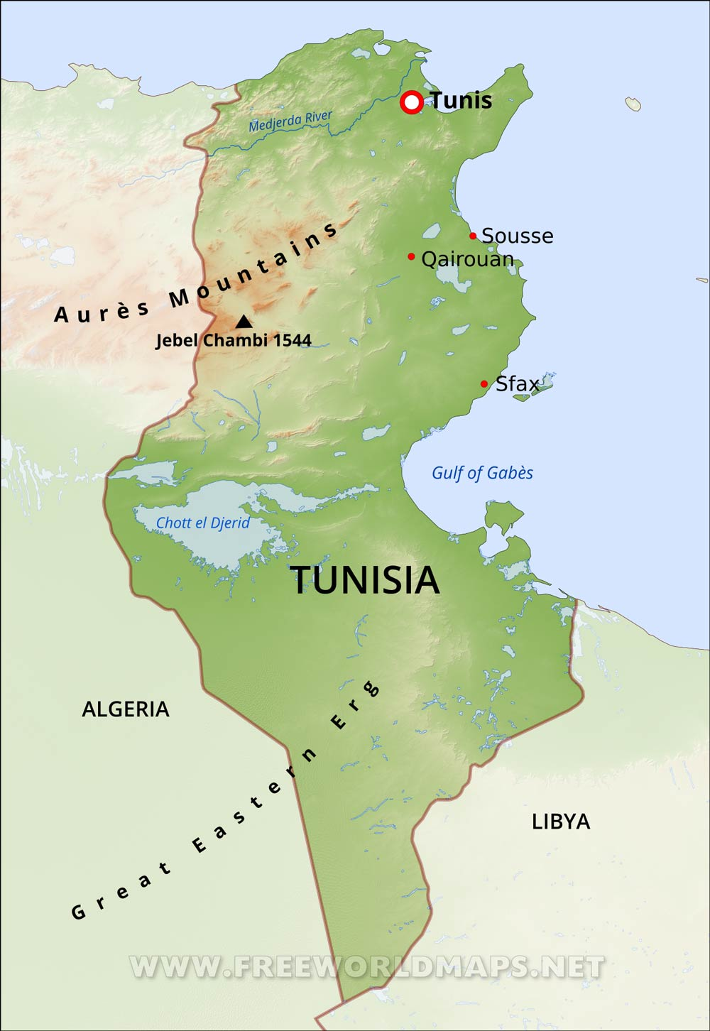 Image of: Tunisia Physical Map