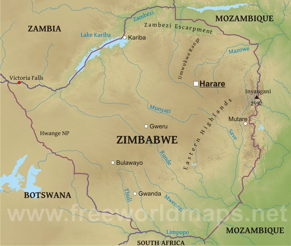 Map Of Africa Zimbabwe.Zimbabwe Physical Map