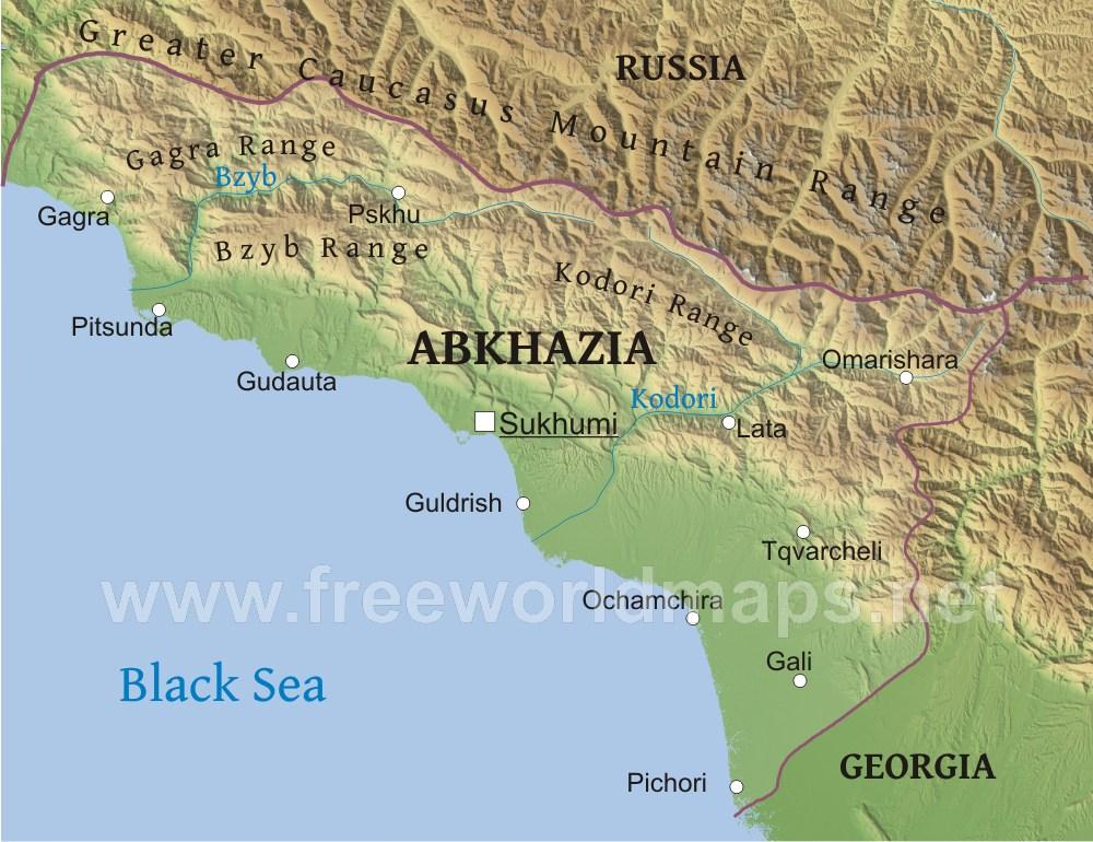 Abkhazia Physical Map on