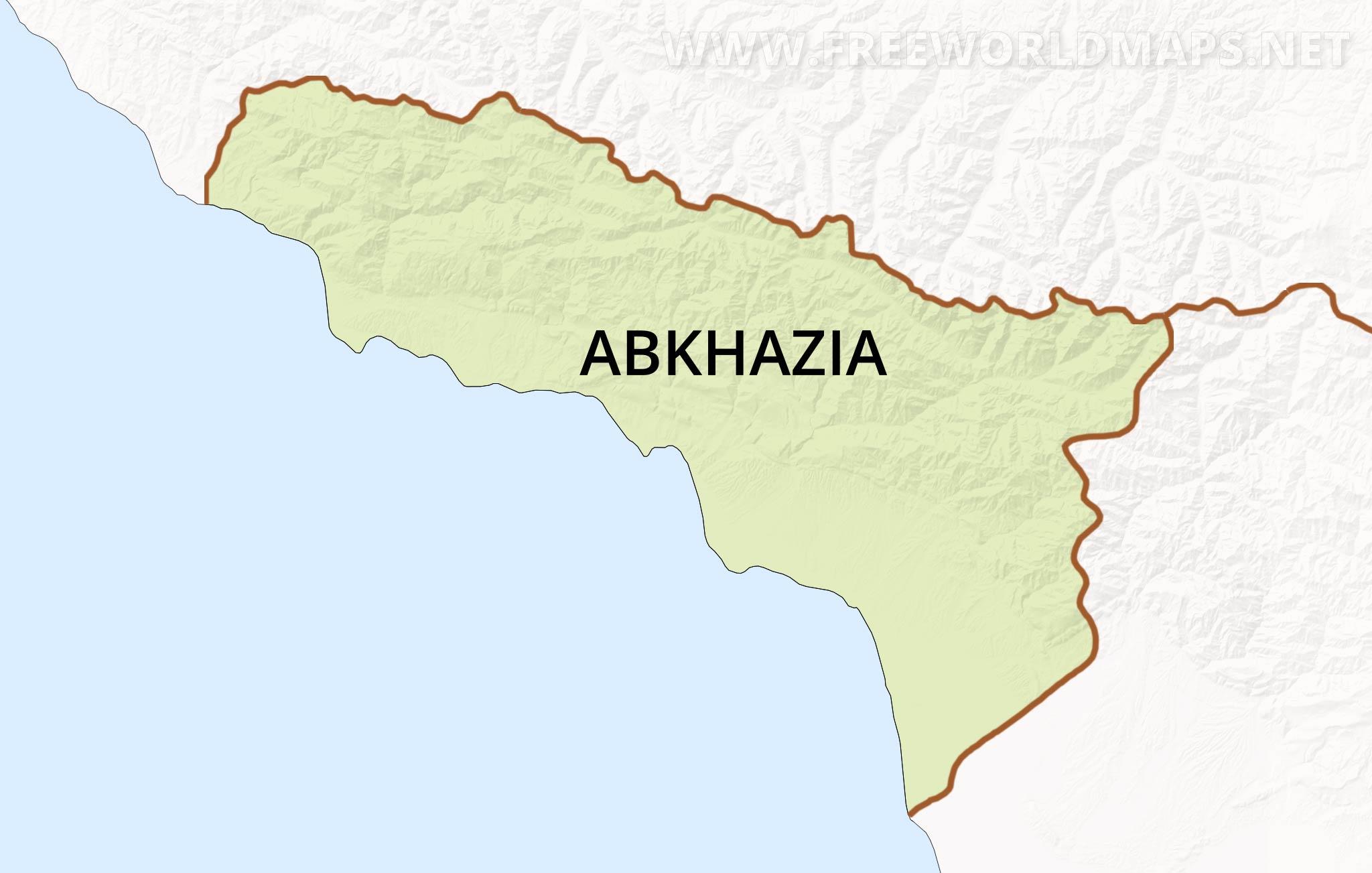 Abkhazia Map Caucasus Mountains, Abkhazia Outline Map In High Resolution, Abkhazia Map Caucasus Mountains