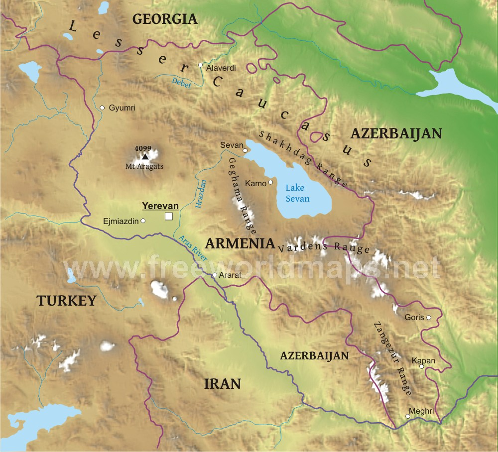 Armenia Physical Map
