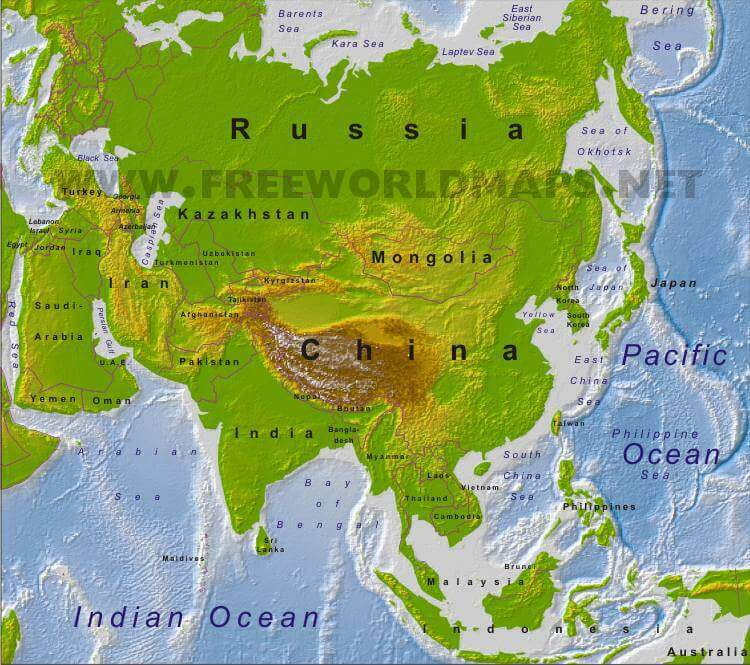 Physical Map Of Asia Asia Physical Map – Freeworldmaps.net Physical Map Of Asia